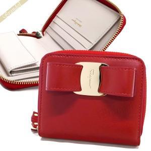 フェラガモ Ferragamo レディース 二つ折り財布 ヴァラリボン ラウンドファスナー レザー レッド 22 D278 0691232 [在庫品]|brandol