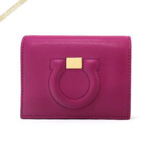 フェラガモ Ferragamo レディース 二つ折り財布 ガンチーニ レザー ピンク×パープル 22 D514 0714549 [在庫品]|brandol