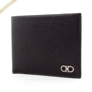 フェラガモ Ferragamo メンズ 二つ折り財布 型押しカーフレザー ダブルガンチーニ ブラック 66 9790 0588862 NERO [在庫品]|brandol
