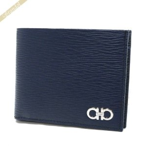 フェラガモ Ferragamo 財布 メンズ 二つ折り財布 ダブルガンチーニ レザー ネイビー 66 A065 0685985 [在庫品]|brandol
