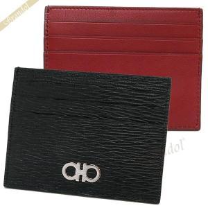フェラガモ Ferragamo メンズ カードケース ガンチーニ レザー カード入れ ブラック×レッド 66 A302 0698914 [在庫品]|brandol