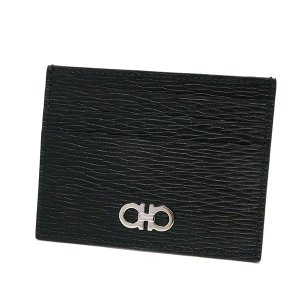 フェラガモ Ferragamo メンズ カードケース ガンチーニ レザー カード入れ ブラック×レッド 66 A302 0698914 [在庫品]|brandol|02