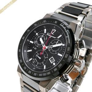 フェラガモ Ferragamo メンズ腕時計 F-80 クロノグラフ 44mm ブラック×ガンメタリック F55030014 [在庫品]|brandol