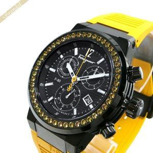 フェラガモ Ferragamo メンズ腕時計 F-80 クロノグラフ 44mm ブラック×イエロー F55LCQ68Y09SR05 [在庫品]|brandol