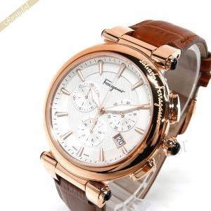 フェラガモ Ferragamo メンズ 腕時計 イディリオ クロノグラフ 42mm ホワイト×ブラウン FCP050017 [在庫品]|brandol
