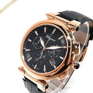 フェラガモ Ferragamo メンズ 腕時計 イディリオ クロノグラフ 42mm ブラック×ローズゴールド FCP060017 [在庫品]|brandol