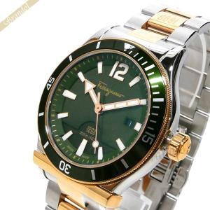 フェラガモ Ferragamo メンズ 腕時計 1989 デイト 42mm グリーン×シルバー FF3270015 [在庫品]|brandol