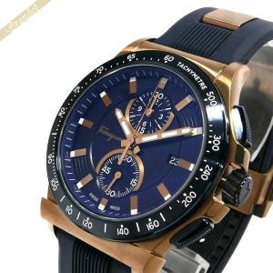 フェラガモ Ferragamo メンズ腕時計 1898 42mm ネイビー×ローズゴールド FFJ020017 [在庫品]|brandol