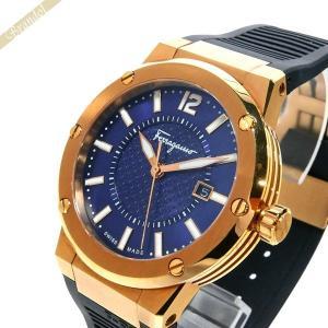 フェラガモ Ferragamo メンズ 腕時計 F-80 デイト 44mm ネイビー×ゴールド FIF050015 [在庫品]|brandol