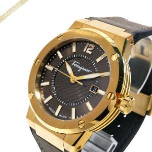 フェラガモ Ferragamo メンズ 腕時計 F-80 デイト 44mm ブラウン×ゴールド FIF060016 [在庫品]|brandol