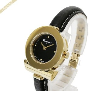 フェラガモ Ferragamo レディース腕時計 ガンチーニ ブレスレット 25mm ブラック×ゴールド FII070015 [在庫品]|brandol