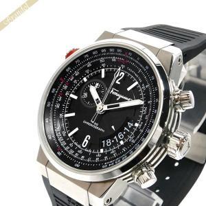 フェラガモ Ferragamo メンズ腕時計 F-80 クロノグラフ 44mm ブラック×シルバー FQ2030013 [在庫品]|brandol
