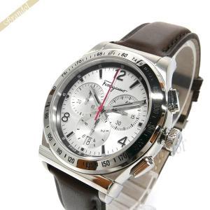 フェラガモ Ferragamo メンズ腕時計 クロノグラフ 42m シルバー×ブラウン SFDK00118 [在庫品]|brandol