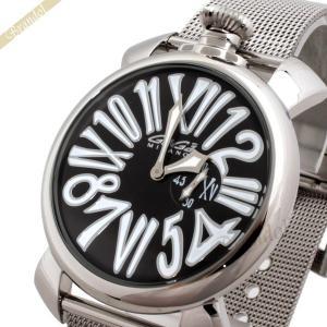 ガガミラノ GaGa Milano メンズ 腕時計 マヌアーレスリム MANUALE SLIM 46mm ブラック×シルバー 5080.2 [在庫品]|brandol