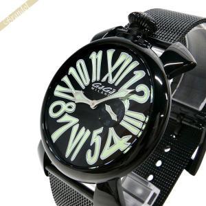 ガガミラノ GaGa MILANO メンズ・レディース 腕時計 マヌアーレスリム MANUALE SLIM 46mm ブラック×グリーン 5082.2 [在庫品]|brandol