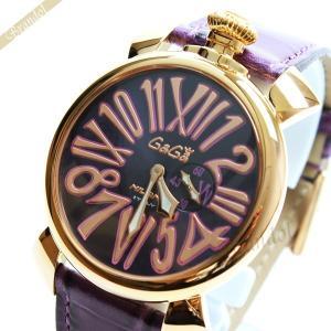 ガガミラノ Gaga Milano メンズ・レディース腕時計 マヌアーレスリム 18K PVD 46mm MANUALE SLIM パープル×ゴールド 5085.3|brandol