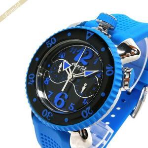 ガガミラノ GaGa Milano メンズ・レディース 腕時計 クロノスポーツ CHRONO SPORTS 46mm ブラック×ライトブルー 7010.03|brandol