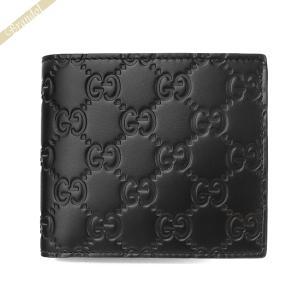 グッチ GUCCI メンズ 二つ折り財布 シグネチャー グッチシマレザー ブラック 365467 CWC1R 1000|brandol