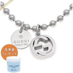 グッチ GUCCI ネックレス メンズ インターロッキングG ボールチェーン ペンダント シルバー 390992 J8400 0702 [在庫品]|brandol
