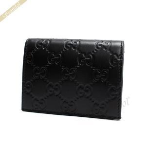 グッチ GUCCI メンズ 二つ折り財布 シグネチャー レザー カードケース ブラック 410120 CWC1G 1000|brandol