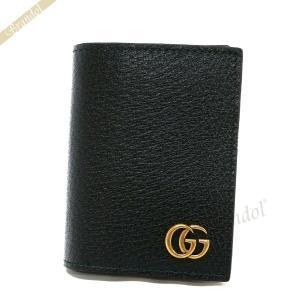 グッチ GUCCI 名刺入れ メンズ GG マーモント レザー カードケース ブラック 428737 DJ20T 1000 [在庫品]|brandol