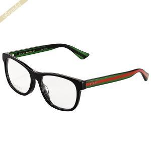 グッチ GUCCI メンズ メガネフレーム ウェリントン型 セルフレーム WEBライン ブラック×グリーン×レッド GG0004OA-002 [在庫品]|brandol