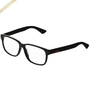 グッチ GUCCI メンズ メガネフレーム ウェリントン型 ウェブモチーフ ブラック GG0011OA-001 【2019年春夏新作】 [在庫品]|brandol