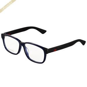 グッチ GUCCI メンズ メガネフレーム ウェリントン型 セルフレーム ダブルカラー ブルー×ブラック GG0011OA-004 [在庫品]|brandol