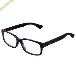 グッチ GUCCI メンズ メガネフレーム スクエア型 セルフレーム ダブルカラー ブルー×ブラック GG0012OA-004 [在庫品]|brandol