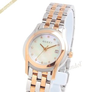 グッチ GUCCI レディース腕時計 Gクラス ダイヤモンド 27mm ホワイトパール×ピンクゴールド YA055535 [在庫品]|brandol