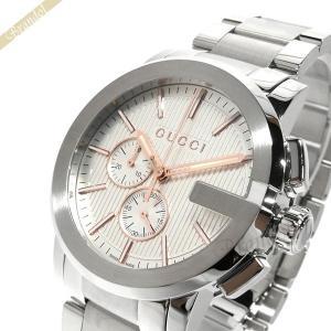 グッチ GUCCI メンズ腕時計 Gクロノ G-Chrono クロノグラフ 44mm ホワイト×シルバー YA101201 [在庫品] brandol