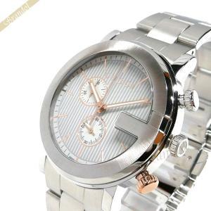 グッチ GUCCI メンズ 腕時計 Gクロノ クロノグラフ 44mm シルバー×ローズゴールド YA101360 [在庫品]|brandol