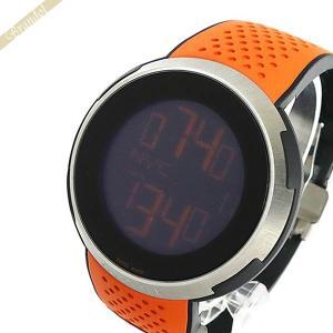 グッチ GUCCI メンズ腕時計 Iグッチ XXL スポーツ ウォッチ デジタル 49mm ブラック×オレンジ YA114104 [在庫品]|brandol