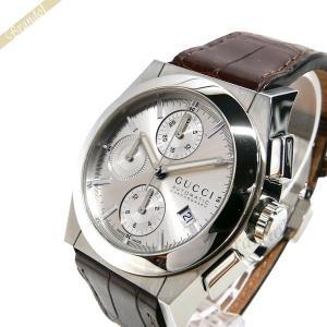 グッチ GUCCI メンズ腕時計 パンテオン クロノグラフ 39mm 自動巻き シルバー×ブラウン YA115208 [在庫品]|brandol