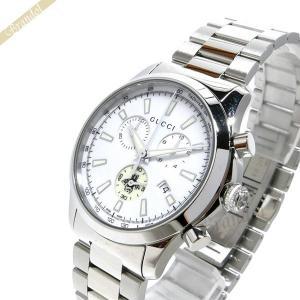 グッチ GUCCI メンズ 腕時計 Gタイムレス クロノグラフ 38mm ホワイト×シルバー YA126472 [在庫品]|brandol