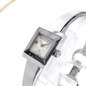 グッチ GUCCI レディース腕時計 Gフレーム G-Frame スクエア バングルウォッチ ホワイトパール×シルバー YA128515 [在庫品]|brandol