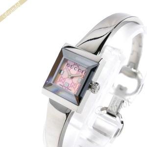 グッチ GUCCI レディース腕時計 Gフレーム スクエア バングルウォッチ ピンク×シルバー YA128516 [在庫品] brandol