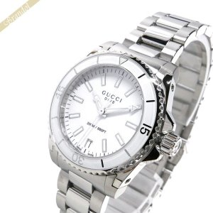 グッチ GUCCI レディース腕時計 ダイブ 32mm ホワイト×シルバー YA136402 [在庫品]|brandol