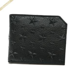 ジミーチュウ JIMMY CHOO メンズ 二つ折り財布 スター エンボス レザー オールブラック ALBANY EMG BLACK [在庫品]|brandol