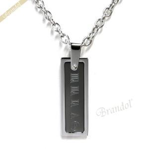 ポリス POLICE ネックレス メンズ COLOSSEUM バー プレート ペンダント シルバー×ブラック 25517PSU01 [在庫品] brandol