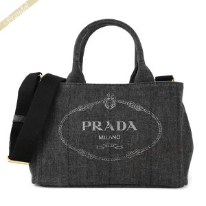 プラダ PRADA レディース トートバッグ カナパ CANAPA Sサイズ デニム 2wayショルダー ミニトート ブラック 1BG439 AJ6 F0002 / NERO [在庫品]|brandol