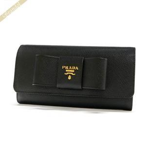 プラダ PRADA レディース 長財布 パスケース付 リボン レザー ウォレット ブラック 1MH132 ZTM F0002 / NERO [在庫品]|brandol