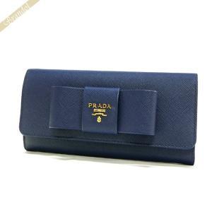 プラダ PRADA レディース 長財布 パスケース付 リボン レザー ウォレット ブルー 1MH132 ZTM F0016 / BLUETTE [在庫品]|brandol