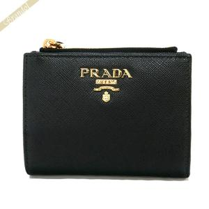 プラダ PRADA レディース 二つ折り財布 サフィアーノ レザー ブラック 1ML023 QWA F0002 [在庫品]|brandol