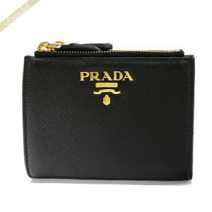 プラダ PRADA レディース 二つ折り財布 サフィアーノ レザー ダブルファスナー ブラック 1ML024 QWA F0002 [在庫品] brandol