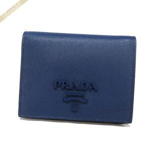 プラダ PRADA レディース 二つ折り財布 レザー ブルー 1MV204 2EBW F0016 [在庫品] brandol