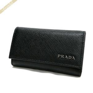 プラダ PRADA キーケース メンズ レザー 6連 ブラック×ネイビー 2PG222 C5S F0G52 / NERO BALTICO 【2017年春夏新作】|brandol