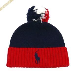 ポロ ラルフローレン POLO RALPH LAUREN メンズ・レディース ニット帽 ビッグポニー ニットキャップ ネイビー×レッド PE0015 411 [在庫品]|brandol