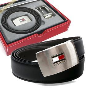 トミーヒルフィガー TOMMY HILFIGER メンズ ベルト リバーシブル レザー ベルト 替えバックル付 フリーサイズ ブラック 11TL08X007-014 [在庫品]|brandol