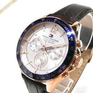 トミーヒルフィガー TOMMY HILFIGER メンズ 腕時計 マルチカレンダー 46mm ホワイト×ブラウン 1791118 [在庫品]|brandol